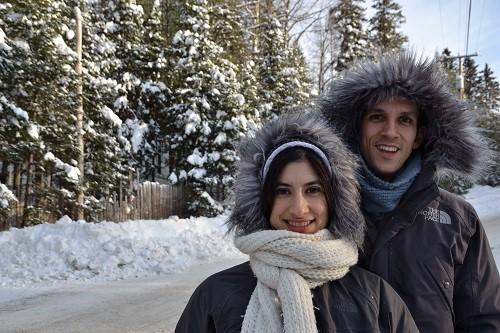 Marion et Alex à la neige