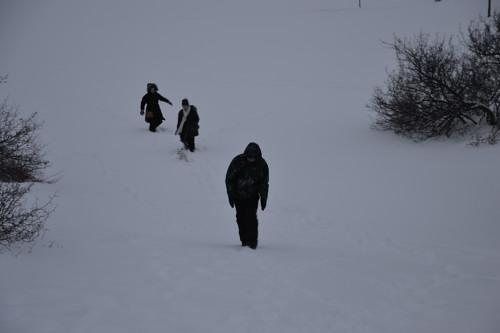 Pour faire de la luge, il faut le mériter, le parcours est très neigeux.