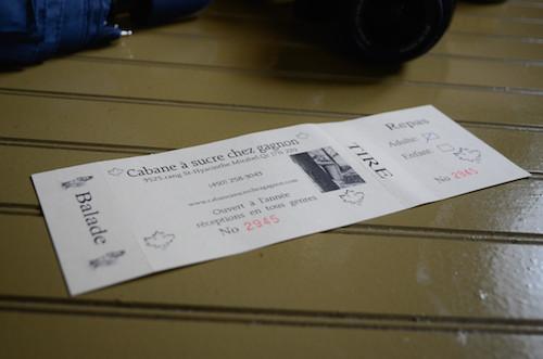 Notre ticket pour un repas copieux, un tire d'érable et une balade à cheval !